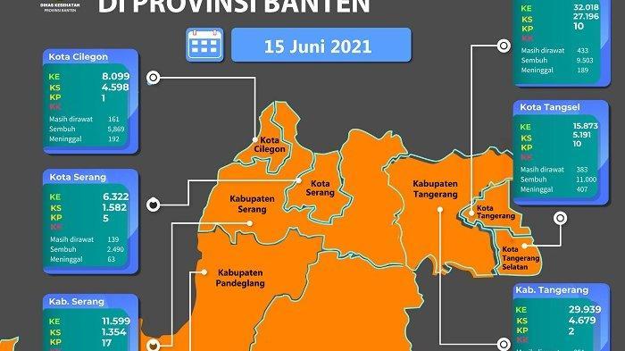 Peta sebaran Covid-19 di Provinsi Banten per 15 Juni 2021