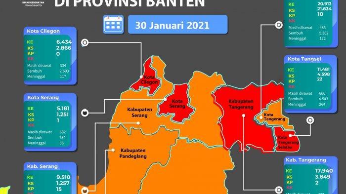 Peta sebaran Covid-19 di Provinsi Banten per 30 Januari 2021