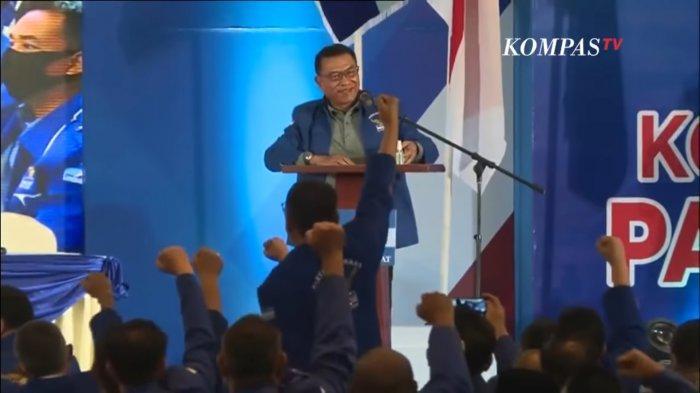Kepala Staf Presiden (KSP) Moeldoko menyampaikan pidato pertama setelah terpilih sebagai Ketua Umum Partai Demokrat di Kongres Luar Biasa (KLB) Demokrat di The Hill Hotel and Resort Sibolangit, Deli Serdang, Sumatera Utara, Jumat (5/3/2021).