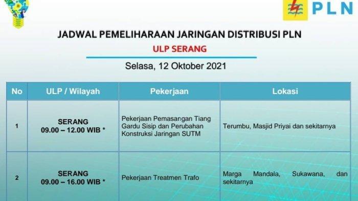 PLN akan melakukan pemadaman bergilir di sejumlah wilayah Serang, Selasa (12/10/2021).