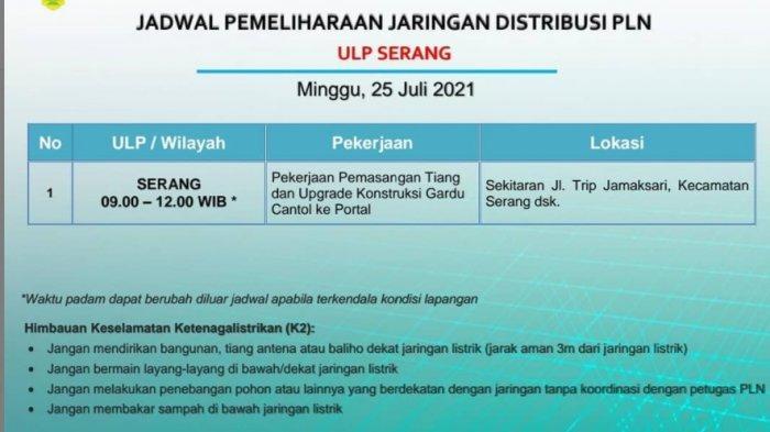Pemadaman Listrik Bergilir PLN di Wilayah Serang, Rabu 25 Agustus 2021, Dari Pabuaran hingga Baros