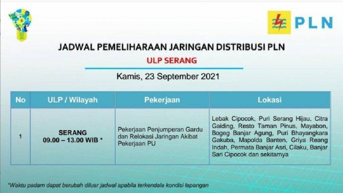 PLN akan melakukan pemadaman bergilir di wilayah Serang, Kamis (23/9/2021).