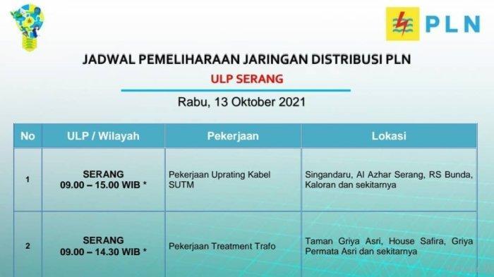 PLN akan melakukan pemadaman bergilir di wilayah Serang, Rabu (13/10/2021).