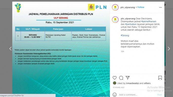 PLN akan melakukan pemadaman bergilir di wilayah Serang, Rabu (15/9/2021).