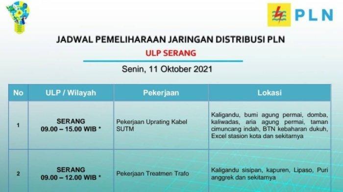 PLN akan melakukan pemadaman bergilir di wilayah Serang, Senin (11/10/2021).