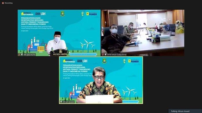 PLN melalui anak usahanya PT Indonesia Power (IP) mendatangani kerja sama dengan Pemerintah Kota (Pemkot) Tangerang terkait penyediaan bahan bakar Jumputan Padat untuk Cofiring Pembangkit Listrik Tenaga Uap (PLTU). Penandatanganan dilakukan secara daring oleh Direktur Utama PT Indonesia Power, M Ahsin Sidqi bersama Wali Kota Tangerang, Arief R Wismansyah dan disaksikan Direktur Mega Proyek dan Energi Baru Terbarukan PLN, M Ikhsan Asaad, Jumat (23/4/2021).
