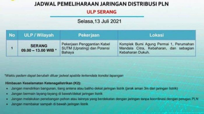 Jadwal Pemadaman Listrik Sementara di Kota Serang Hari Ini, Selasa 13 Juli 2021