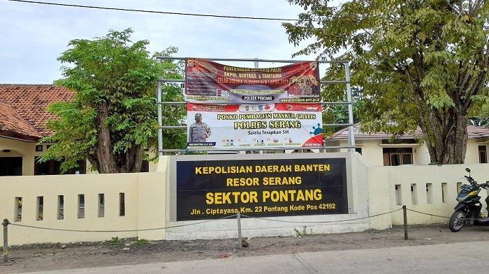Polsek Pontang di Jalan Ciptayasa Km 22, Kecamatan Pontang, Kabupaten Serang, Banten, Kamis (1/4/2021).