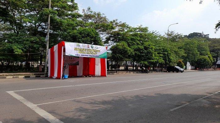 Posko Sidang Tipiring PPKM Darurat Pemerintah Kota Serang, Jalan Raya Veteran nomor 1 Serang, Rabu (7/7/2021).