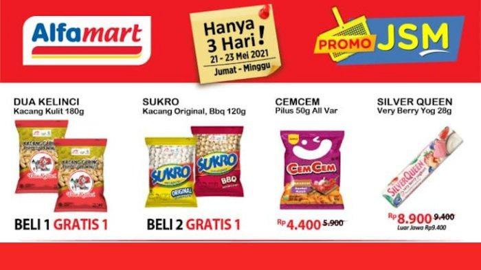 Promo JSM Alfamart 21-23 Mei, Aneka Camilan & Minuman Beli 2 Gratis 1, Diskon Beras 5 Kg + Cashback