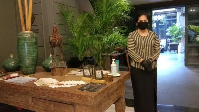 Protokol kesehatan di hotel The Kuningan Suites, Jakarta, Jumat (17/7/2020).