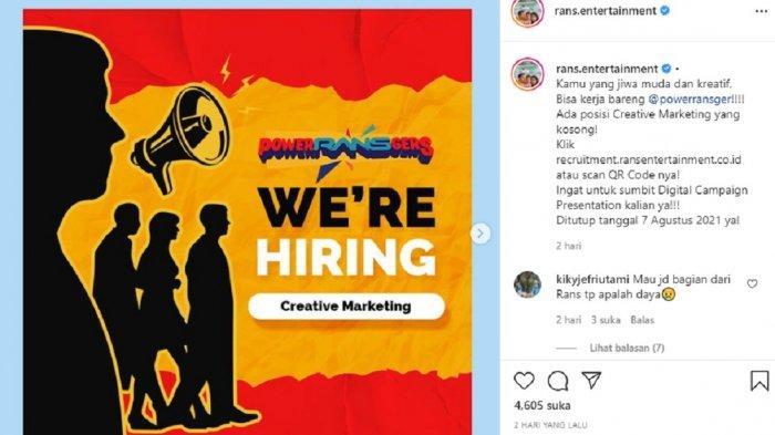 Rans Entertainment sedang membuka lowongan kerja terbaru Agustus 2021