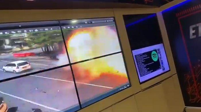 rekaman video CCTV ledakan bom di Gereja Katedral Makassar, Minggu (28/3/2021)