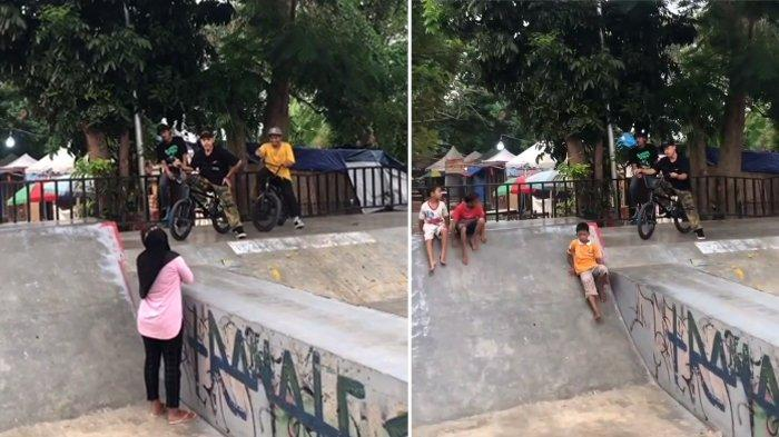 Viral Video Emak-Emak Adu Mulut dengan Anak BMX di Skate Park Maulana Yusuf Serang