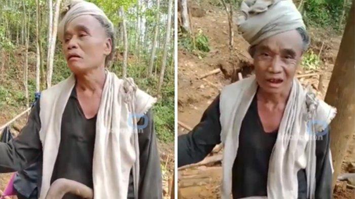 Para panatua atausesepuh Suku baduy sedih dengan kondisi Gunung Liman, Desa Cibarani, Kabupaten Lebak, Banten, Kamis (22/4/2021).