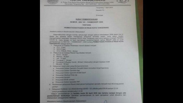 Pasien Corona Membeludak, Poli RSUD Kota Tangerang Ditutup Sementara Mulai 6 April