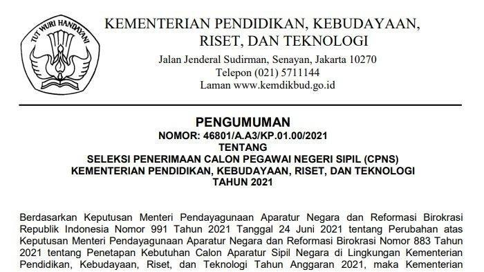 Surat Pengumuman nomor 46801/A.A3/KP.01.00/2021 CPNS Kemendikbud Ristek 2021