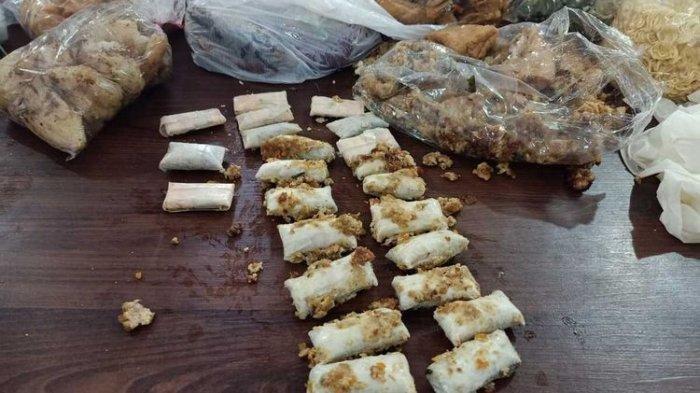 Barang bukti tahu goreng berisi paket daun ganja kering yang diamankan petugas Lapas Kelas I Lowokwaru Malang.