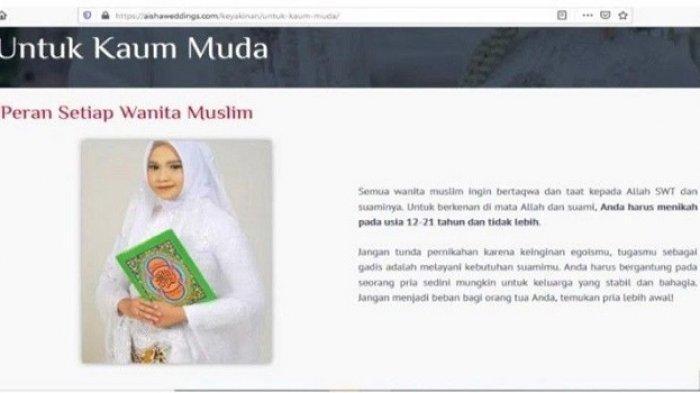 Tangkapan layar situs Aisha Weddings yang menawarkan paket nikah siri, poligami dan ajakan pernikahan anak usia 12-21 tahun.
