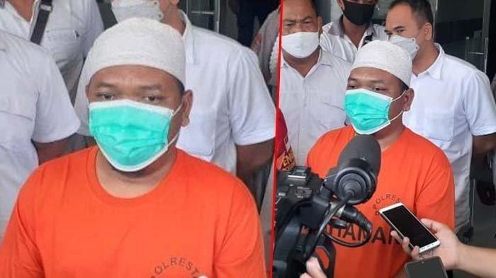 Ustaz Adam Ibrahim (44) ditetapkan tersangka dan ditahan karena menyebarkan berita bohong atau hoaks atas temuan babi ngepet di Sawangan, Kota Depok.