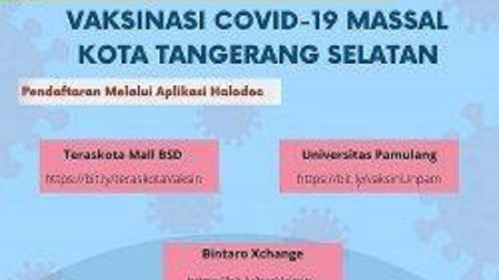 CATAT! Vaksinasi Massal di Kota Tangerang Selatan pada 29 Juni, Berikut Cara dan Syarat Pendaftaran