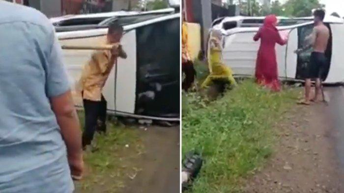 Viral Mobil Pengantar Pengantin Terguling dan Nyaris Terbakar, Evakuasi Penumpang Berjalan Dramatis
