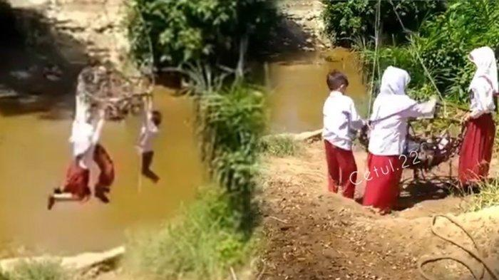 Viral Bocah 3 SD Bergelantungan Sebrangi Sungai, Warga: Kalau Ke Sekolah Lewat Jembatan Semakin Jauh