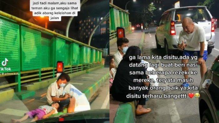 Viral Kakak Adik Mencari Barang Bekas Sampai Malam Kelelahan di Pinggir Jembatan, Begini Kisahnya