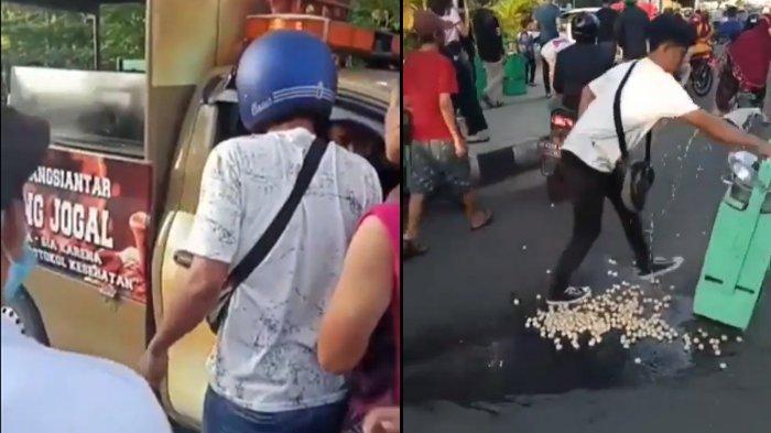 Viral Satpol PP Diamuk Pedagang Saat Razia PPKM, Gerobak Terbalik Hingga Cilok Berceceran di Jalan
