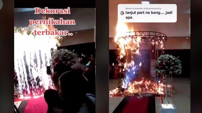 Viral Video Dekorasi Pernikahan Terbakar Saat Mempelai Tepat Berada di Bawahnya, Disabotase Mantan?