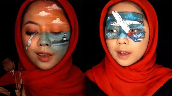 Viral Wanita Lukis Wajah Gambarkan Bencana di Indonesia, dari Sriwijaya Air Hingga KRI Nanggala