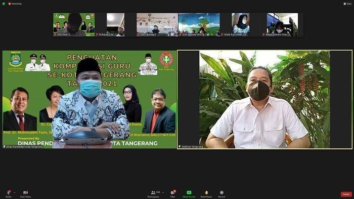 Wali Kota Tangerang Arief R Wismansyah memberi arahan dalam webinar pelatihan Penguatan Kompetensi secara daring yang digelar Dinas Pendidikan dan PGRI Kota Tangerang, Rabu (4/8/2021).