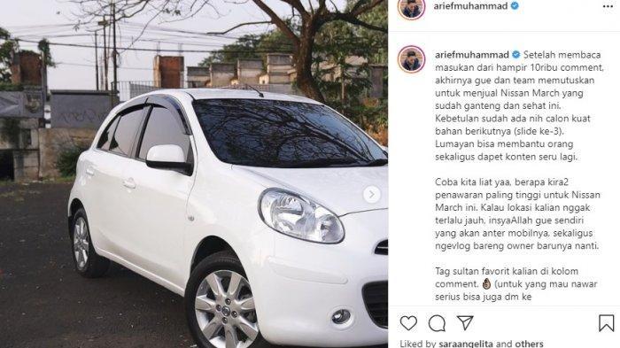 Youtube Arief Muhammad melelang mobil bekas Nissan March dengan harga pasaran Rp 70 juta menjadi Rp 500 juta.