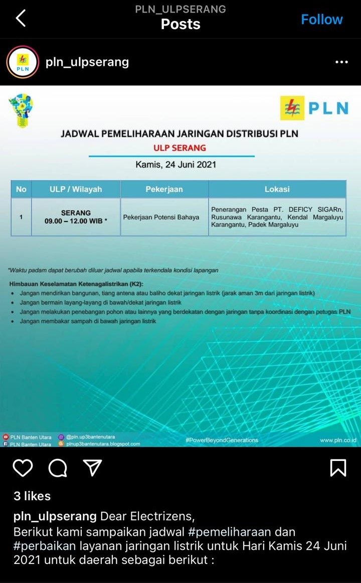 Jadwal pemadaman listrik di Serang, Kamis (24/6/2021).