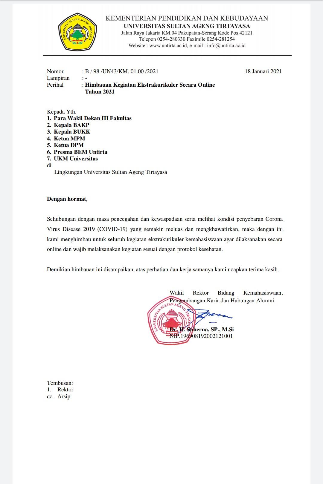 Surat imbauan Untirta