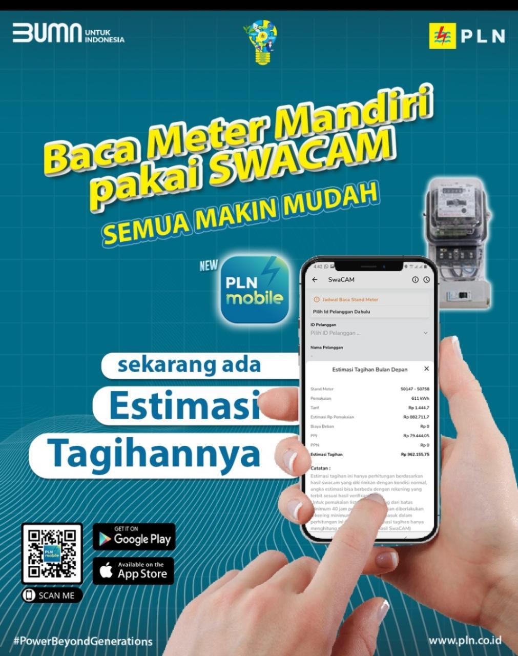 Membaca meter mandiri dengan memanfaatkan fitur Swadaya Catat Angka Meter (SwaCam) di aplikasi PLN Mobile.