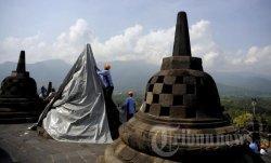 Borobudur Ditutup hingga 29 Maret 2020, Seluruh Permukaan Candi Disemprot Cairan Disinfektan