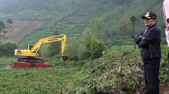 Bupati Banjarnegara Datangkan Tongkang dan Traktor, Bersihkan Eceng Gondok di Telaga Merdada