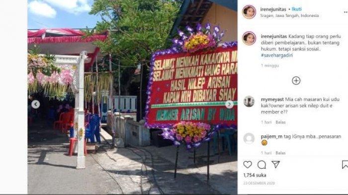 Viral Foto Karangan Bunga Bernada Sindiran di Sragen, Berawal dari Arisan Bodong