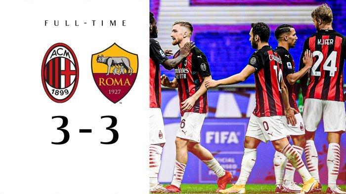 Ditahan Imbang AS Roma 3-3, AC Milan Masih Puncaki Klasemen Sementara Liga Italia