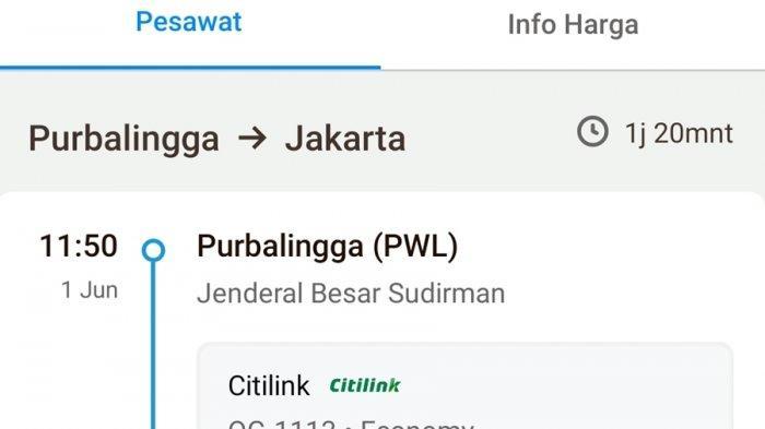 Screenshot jadwal dan harga rute Purbalingga - Jakarta di aplikasi Traveloka, untuk penerbangan 1 Juni 2021.
