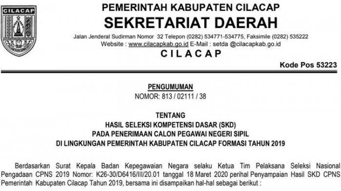 Hasil SKD CPNS 2019 Cilacap, 2.086 Peserta Lulus, Tahap Selanjutnya Tunggu Panselnas