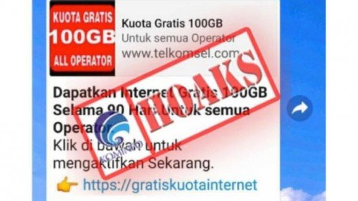 Awas, Hoaks Kuota Gratis 100 GB, Operator Informasikan Fakta Ini