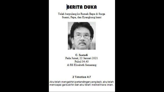 KABAR DUKA, Mantan Pemain dan Pelatih PSIS Semarang C Soetadi Tutup Usia