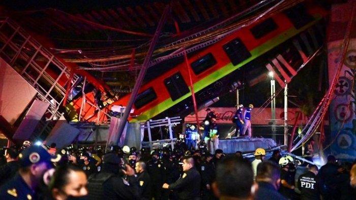 Kereta Api di Meksiko Jatuh ke Jalan Raya setelah Jalan Layang yang Dilewati Ambruk, 15 Tewas