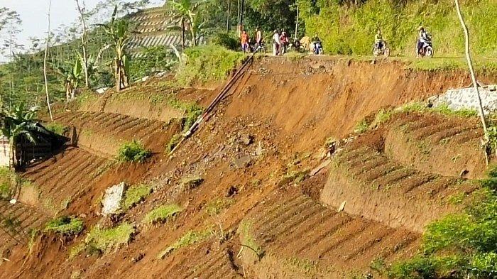 Hilang Separuh Terbawa Longsor, Jalan Kabupaten di Majasari Banjarnegara Harus Dilewati Bergantian