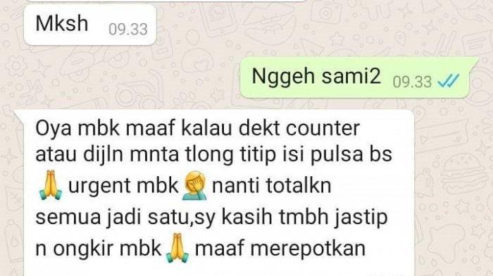 Tangkapan layar hasil chatting pelaku penipuan order fiktif dan pulsa dengan pedagang di sekitar Puskesmas Randudongkal, Kabupaten Pemalang.