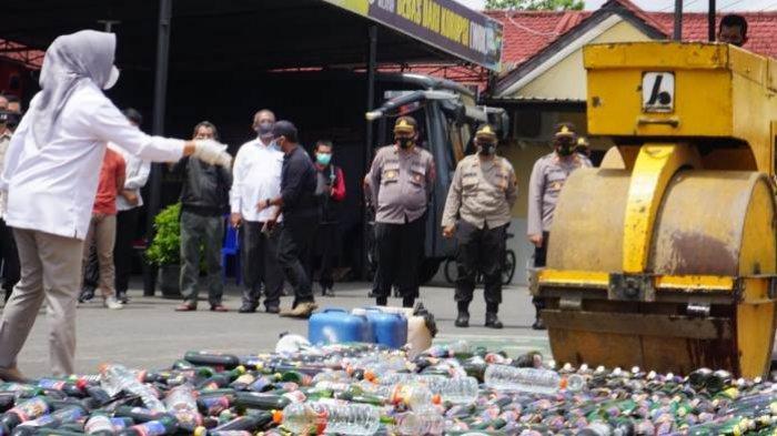 Hasil Operasi Cipta Kondisi Polres Purbalingga, Miras Berbagai Merek dalam 3.629 Botol Dimusnahkan