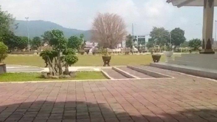 Penampakan pohon beringin meranggas dari kejauhan, di tengah Alun-alun Banjarnegara, belum lama ini.