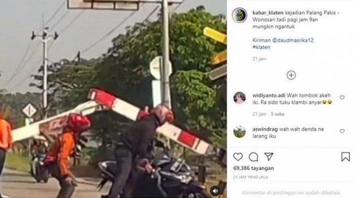 Melamun, Pemotor Tabrak Palang Kereta di Pakis Klaten Hingga Patah. Videonya Viral di Instagram